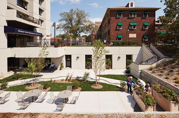 Courtyard of Ebenezer Tower Apartments