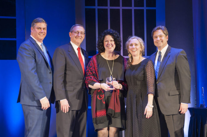 Cindy MacDonald receiving BOMA President's award
