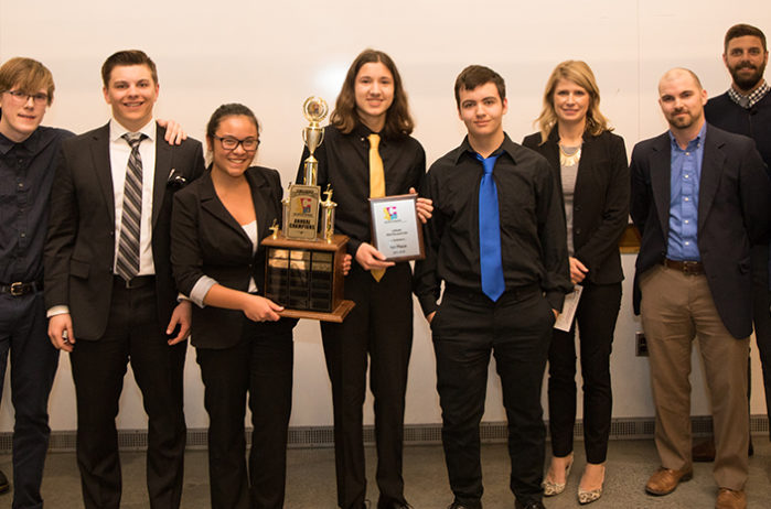 Irondale HS students with trophy building next gen construction leaders