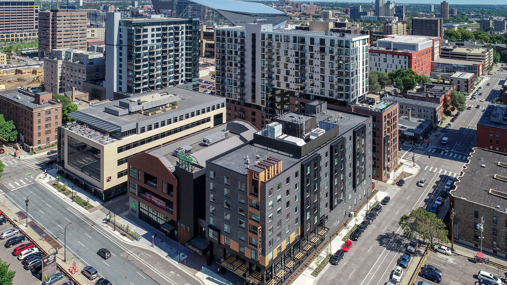 Kraus-Anderson Block Aerial View Drone Shot