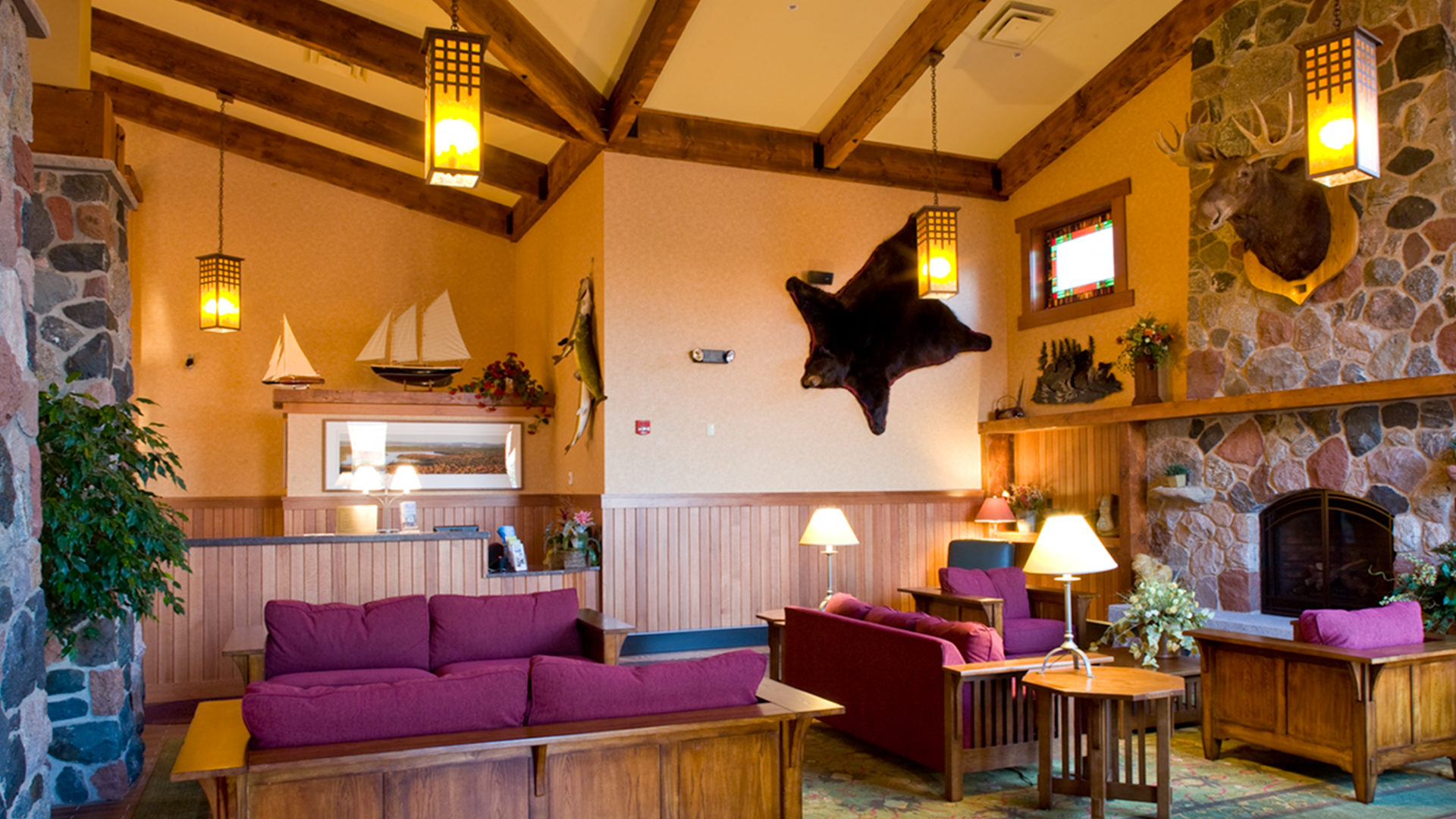 Canal Park Lodge Hotel Duluth Interior Lobby Lodge Seating Area with Stone Fireplace