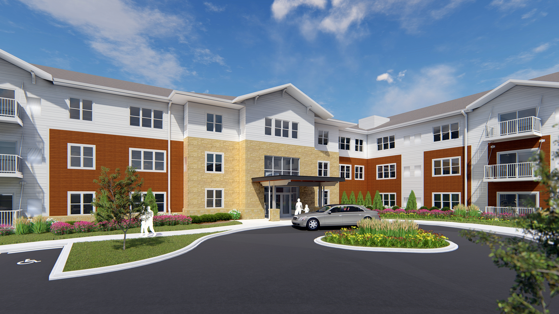 Chamberlain Residential Apartments Richfield MN Rendering Front Entrance