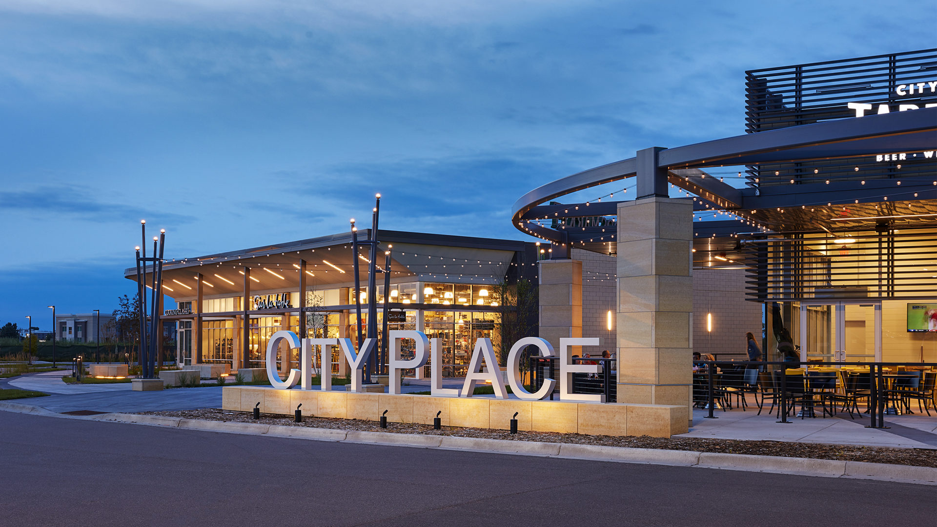 CityPlace Redevelopment Shopping Center Site Exterior Lit Sign in Front of Whole Foods