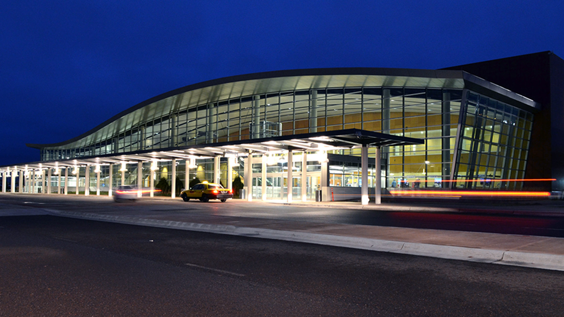 Duluth International Airport Terminal Exterior Night Shot of Departure Drop Off