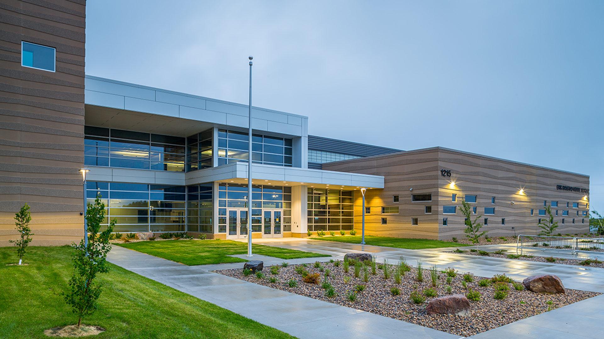 Erik Ramstad Middle School Exterior Dawn Shot of School Entrance