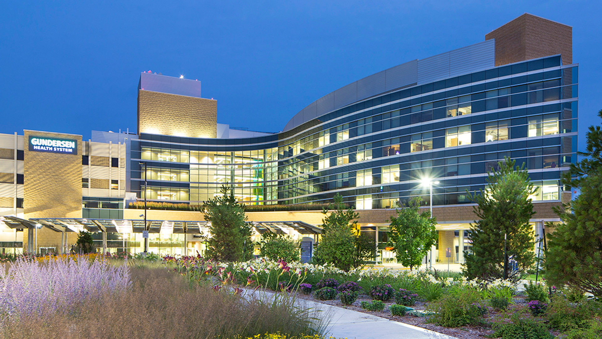Gundersen Healthcare System Hospital Evening Exterior View