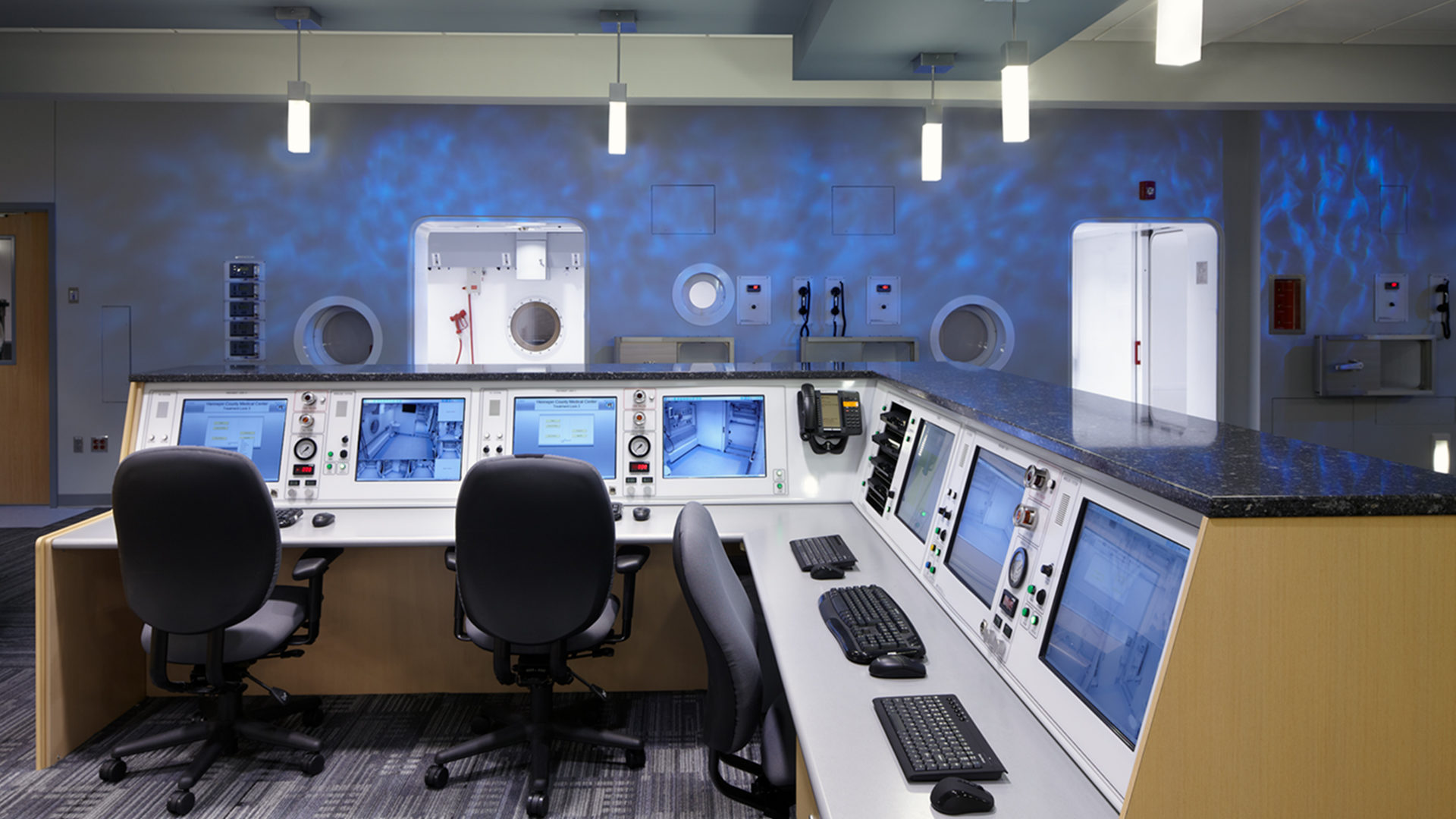 HCMC Hyperbaric Chamber Interior Suites From Behind the Control Desk