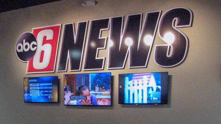 KAAL TV Studio Rochester ABC 6 News Interior Logo Wall with Video Screens