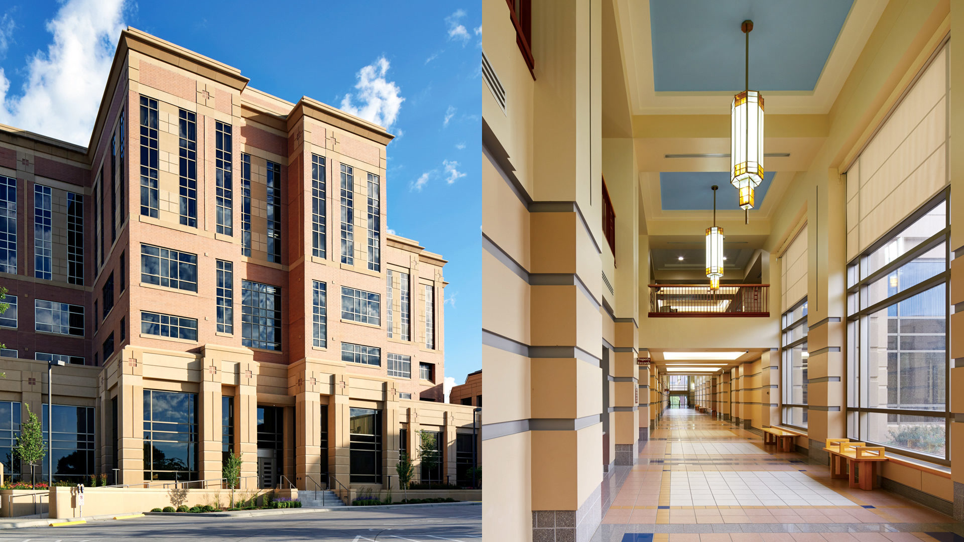 Olmsted County Government Center Rochester MN_Exterior Entrance View and Interior Corridor View