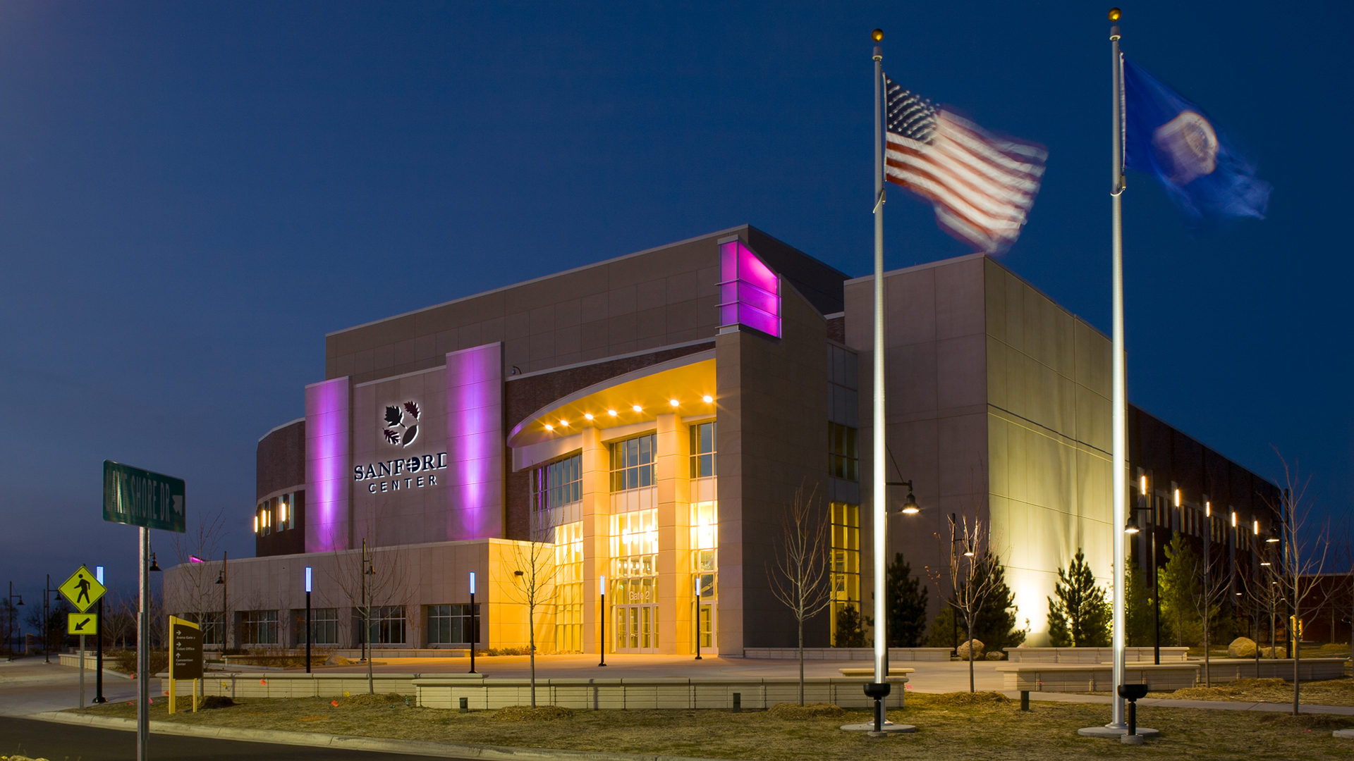 Sanford Center Ice Arena Bemidji MN Government Exterior Night Shop of Entrance