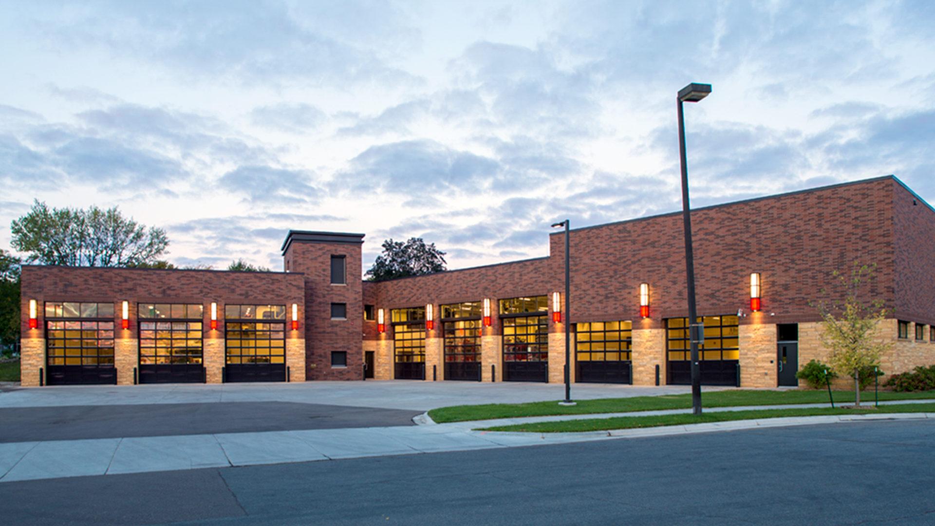 St Louis Park Fire Station 1 St Louis Park MN Exterior Fire Vehicle Banks Night View