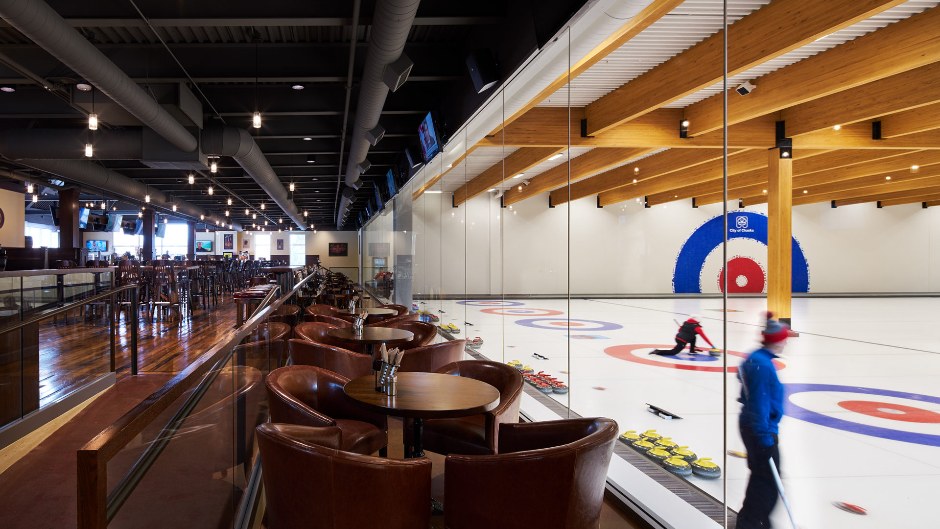 Chaska Firemens Park Curling and Event Center Interior View from Crooked Pint Ale House into the Curling Club