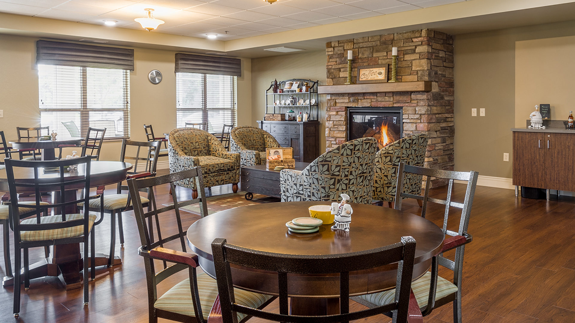 Deephaven Woods Senior Living Housing Interior View of Community Room Fireplace Seating Area