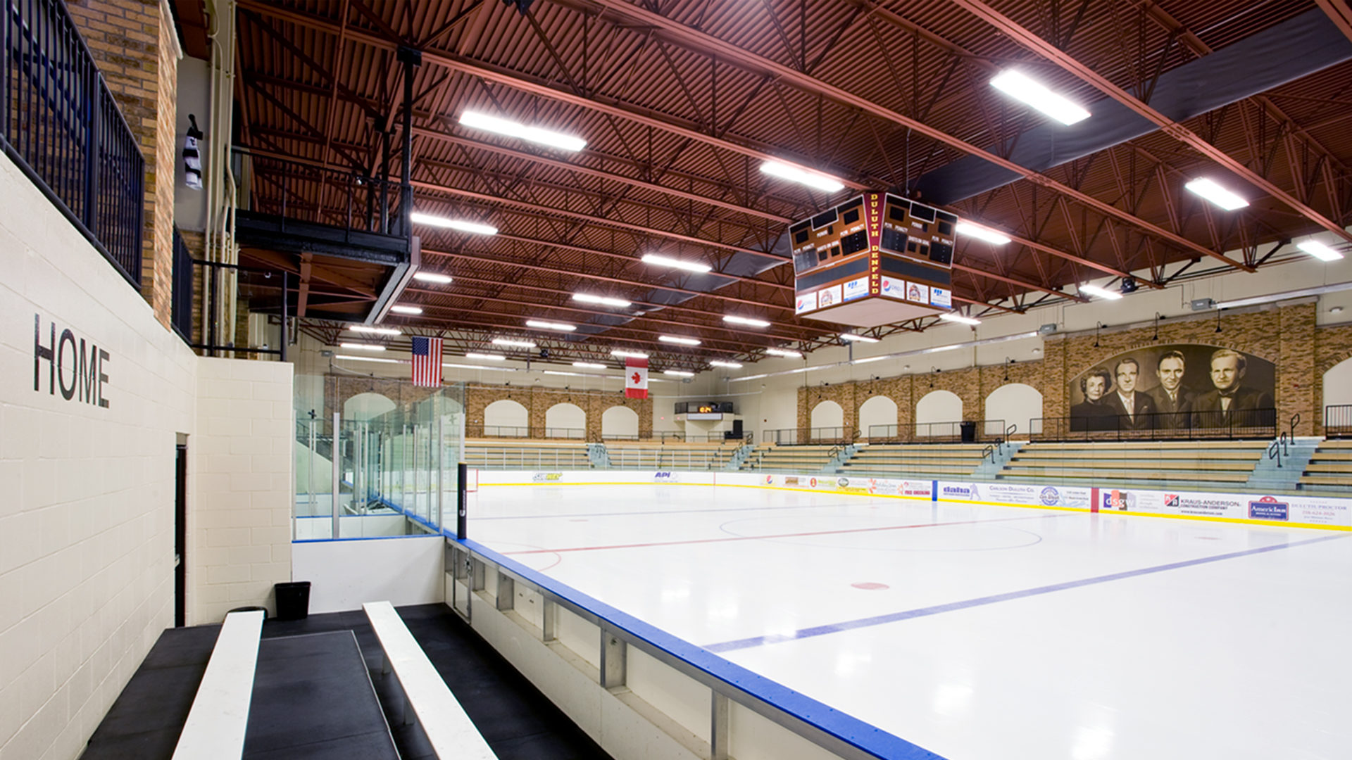 Duluth Heritage Sports Center Hockey Arena Interior Rink Highlighting photographic Mural