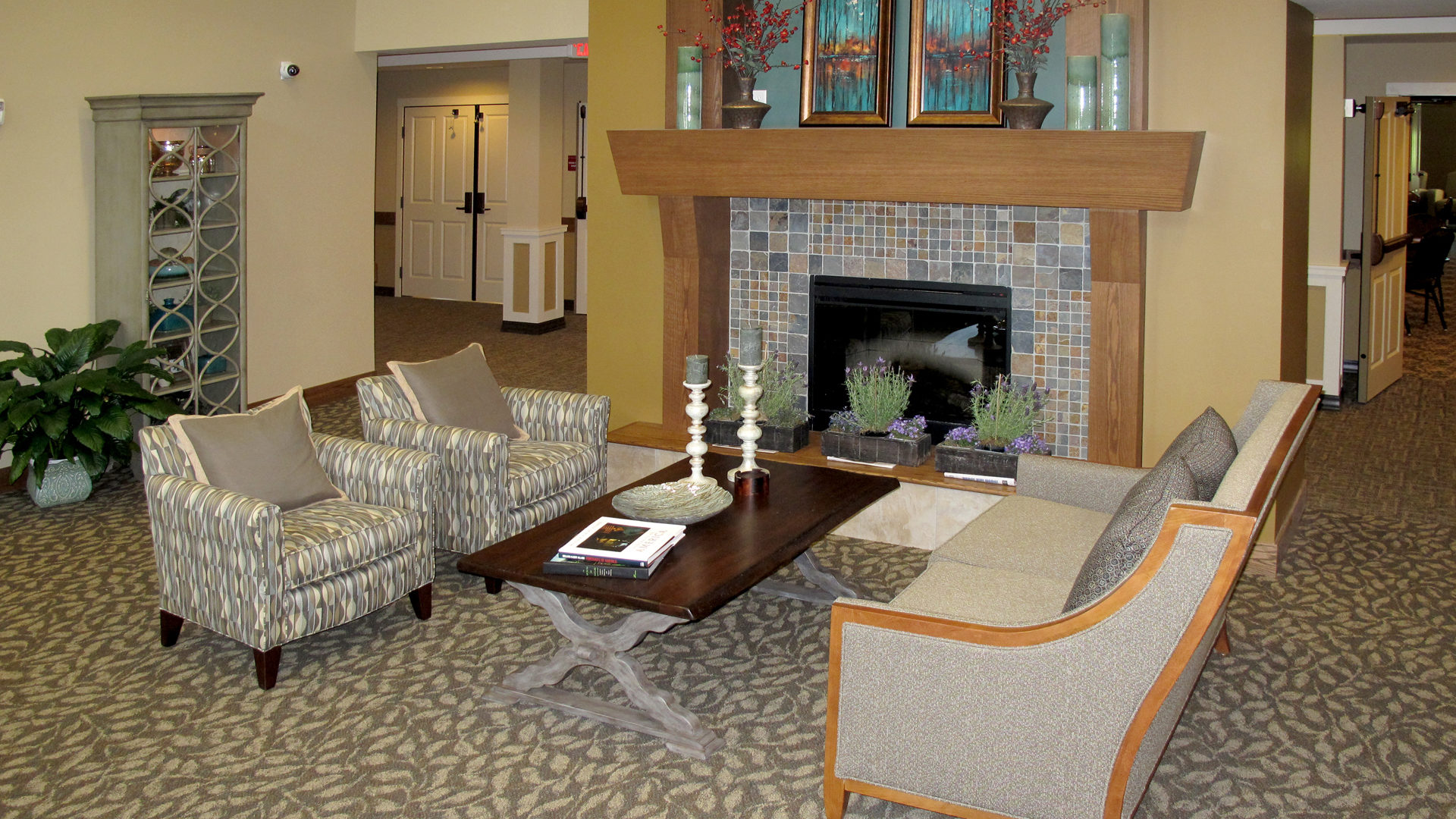Ebenezer Arbors at Ridges Senior Assisted Living Interior Lobby Fireplace