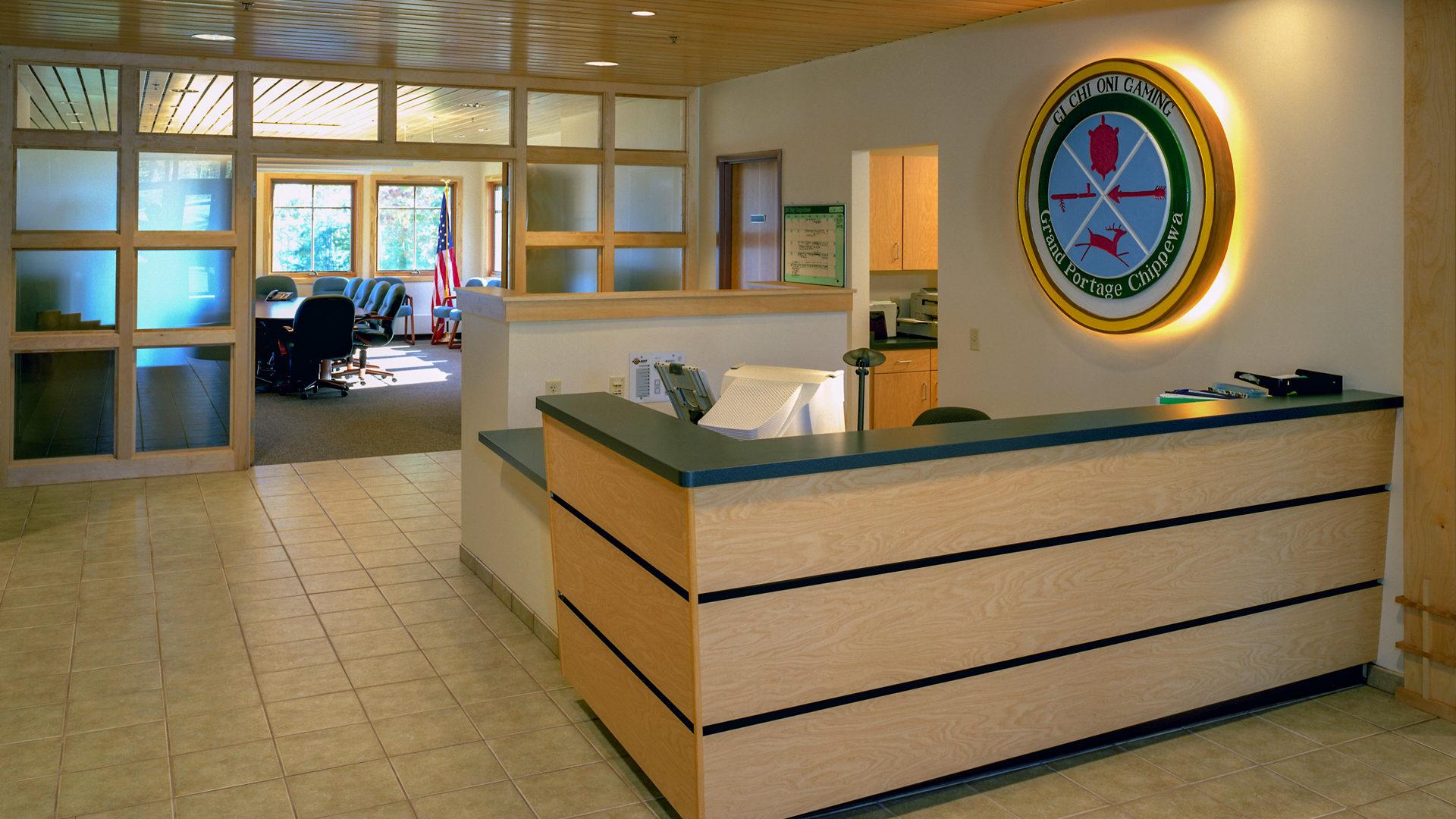 Grand Portage Tribal Office Grand Marais Interior Reception Desk