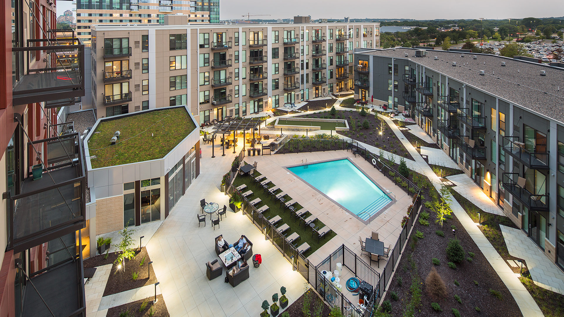 One Southdale Place Apartments Edina MN Exterior Pool Courtyard View