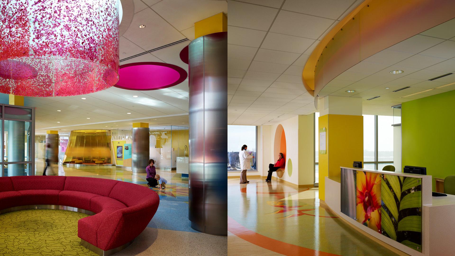 U of M Masonic Childrens Hospital Amplatz Interior Lobby at Entrance and Corridor with Information Desk