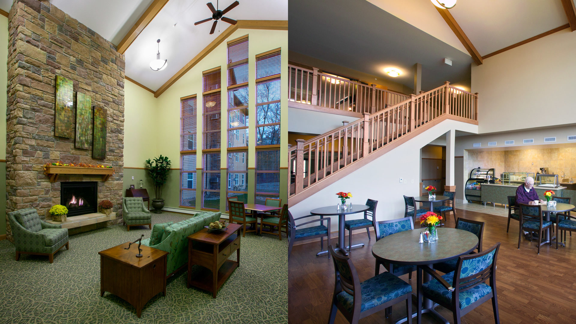 Valley Ridge Senior Residential Housing Burnsville MN Comminity Room Featuring the Fireplace and Cafe with Staircase