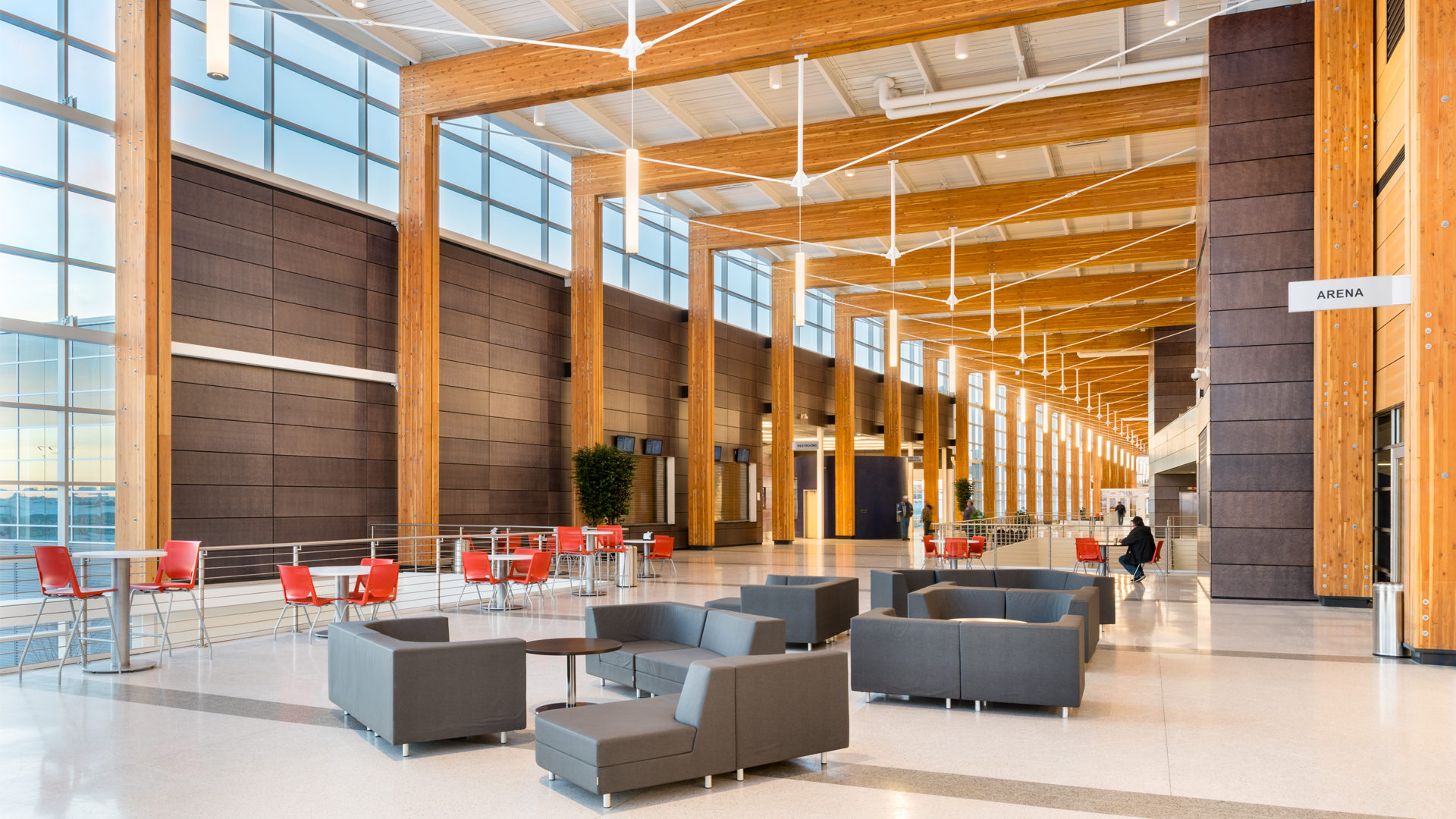 Watford Event Center Watford ND Government Vaulted Ceiling Open Corridor Seating Area