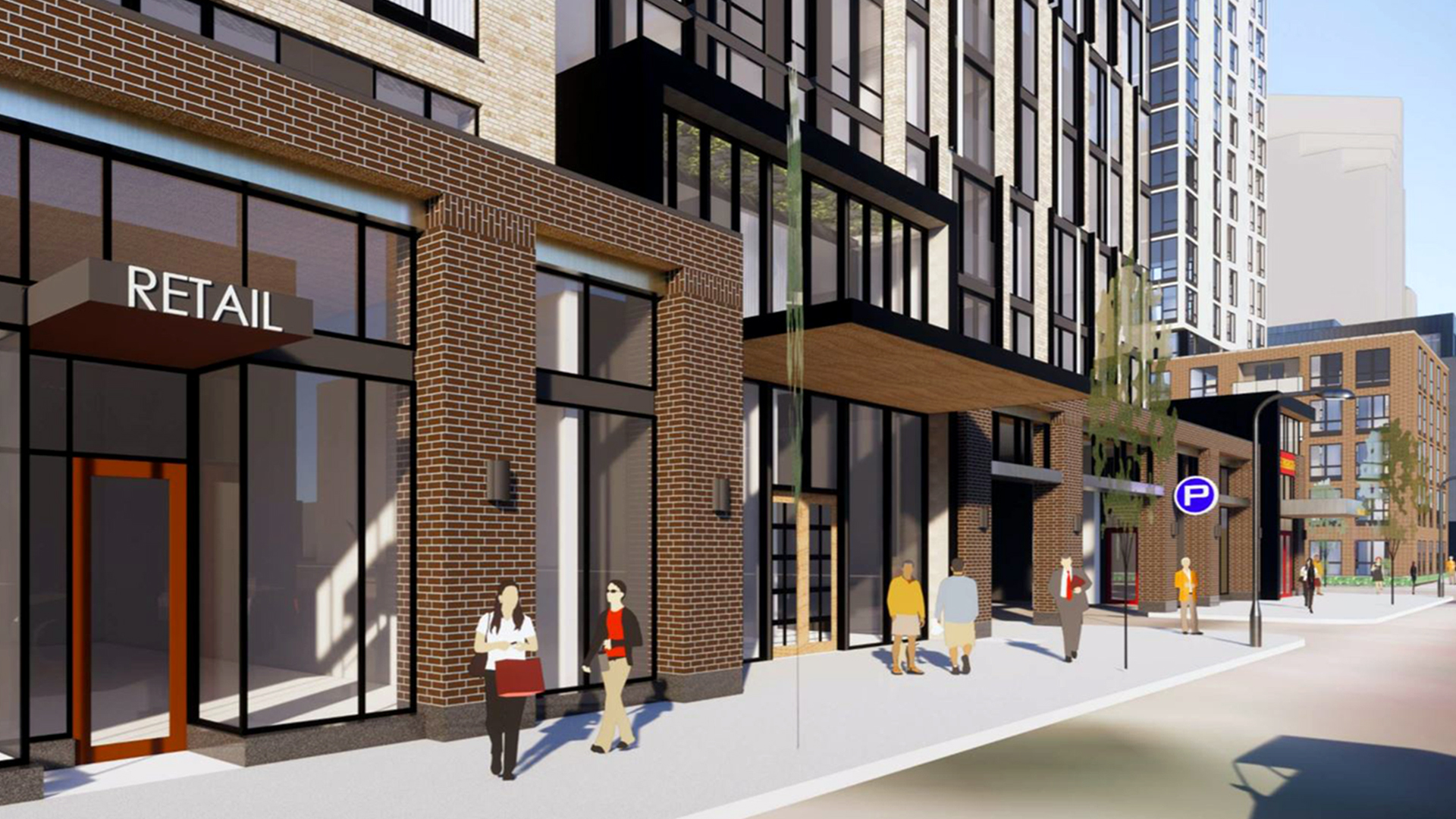 Wells Fargo 8th and Portland Minneapolis MN Residential Mixed Use Development Showing Ground Level Retail