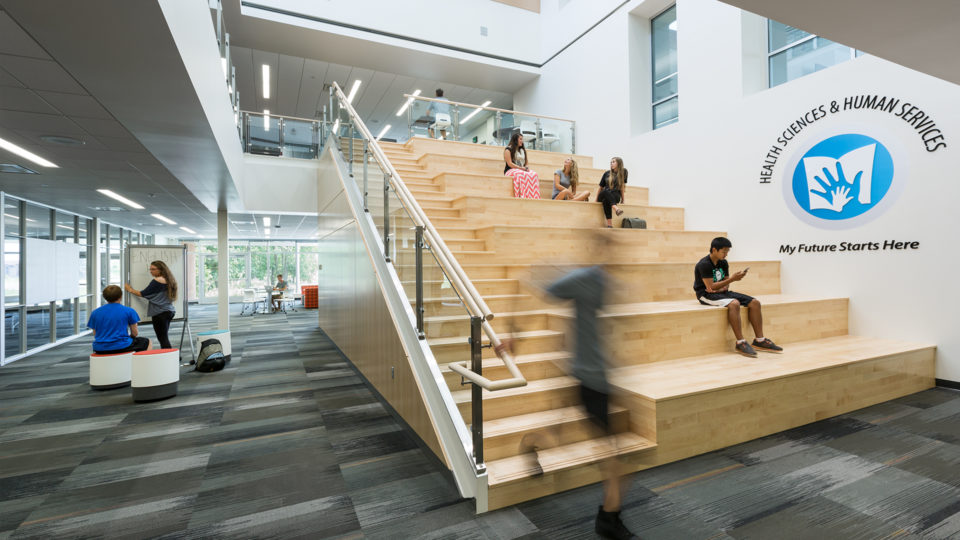 Alexandria High School Interior Multi Level Bleacher Seating for Students