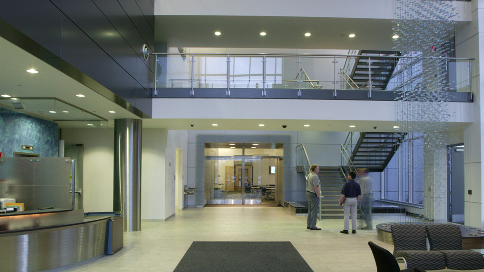Boston Scientific Weaver Lake Phase III Expansion High Tech Manufacturing Interior Lobby Staircase and Reception Desk