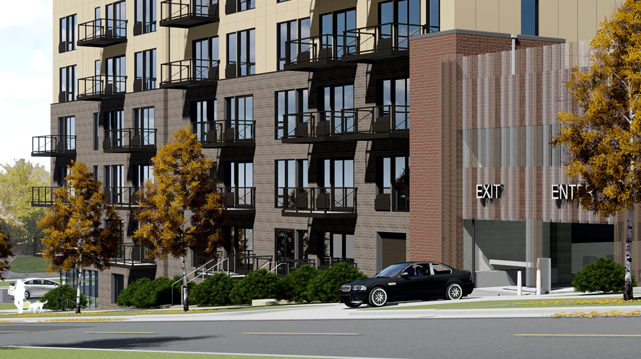 Capitol Professional Office Building Residential Apartments St Paul MN Rendering Close up of parking and building entrance
