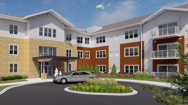 03_Chamberlain Residential Apartments Richfield MN Rendering Front Entrance of Building A
