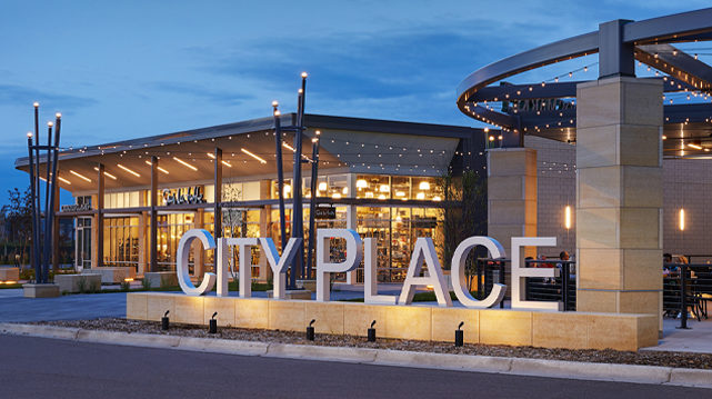 City Place Redevelopment Shopping Center Exterior View Of CityPlace Lettering outside Whole Foods