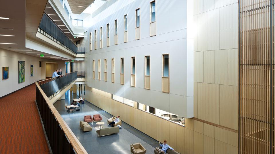 Gustavus Adolphus College Beck Academic Hall Overlooking Interior Lobby Shot from Second Floor