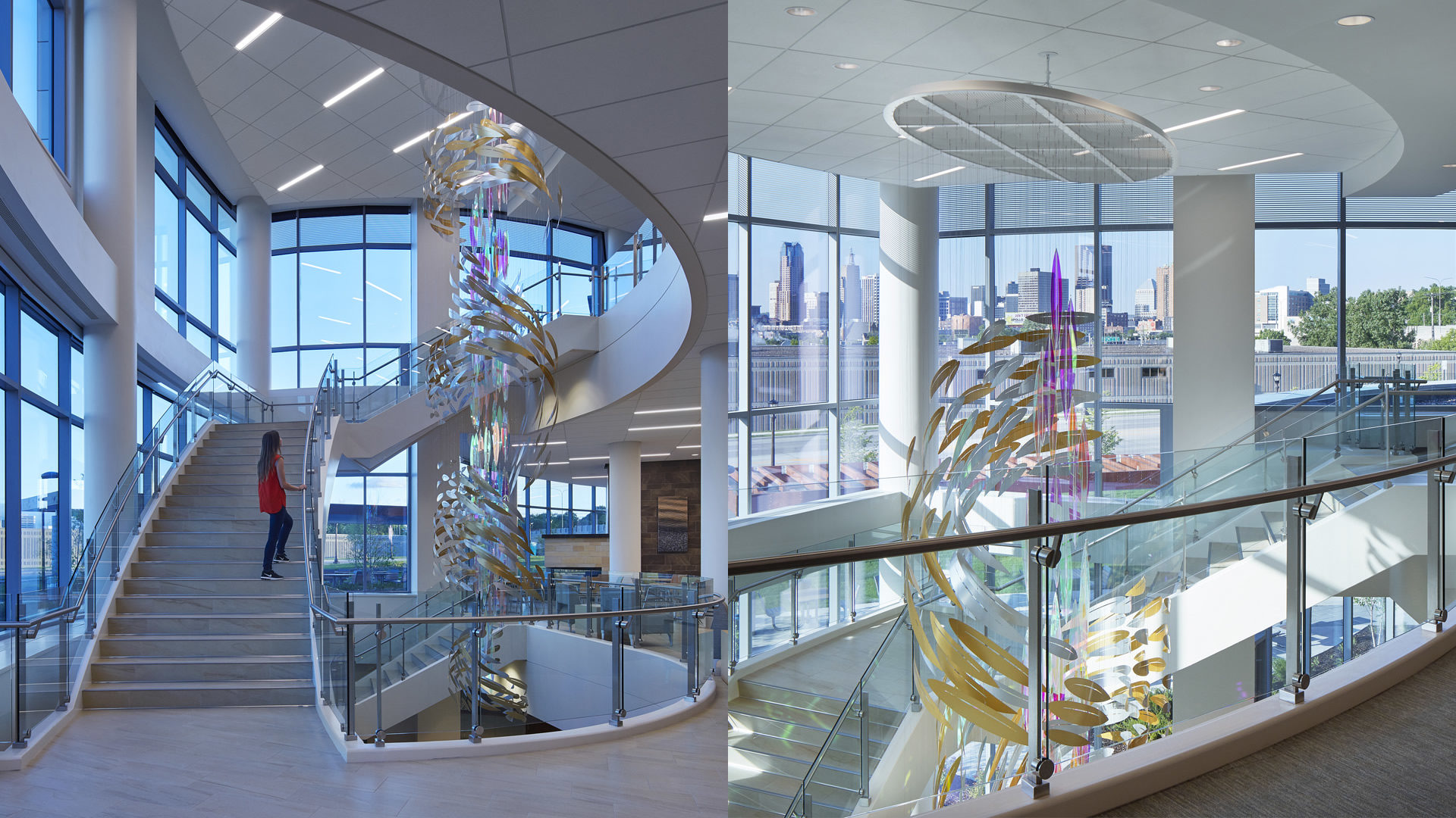 HealthPartners Neuroscience Center Interior View of Grand Staircase Featuring Hanging Sculpture