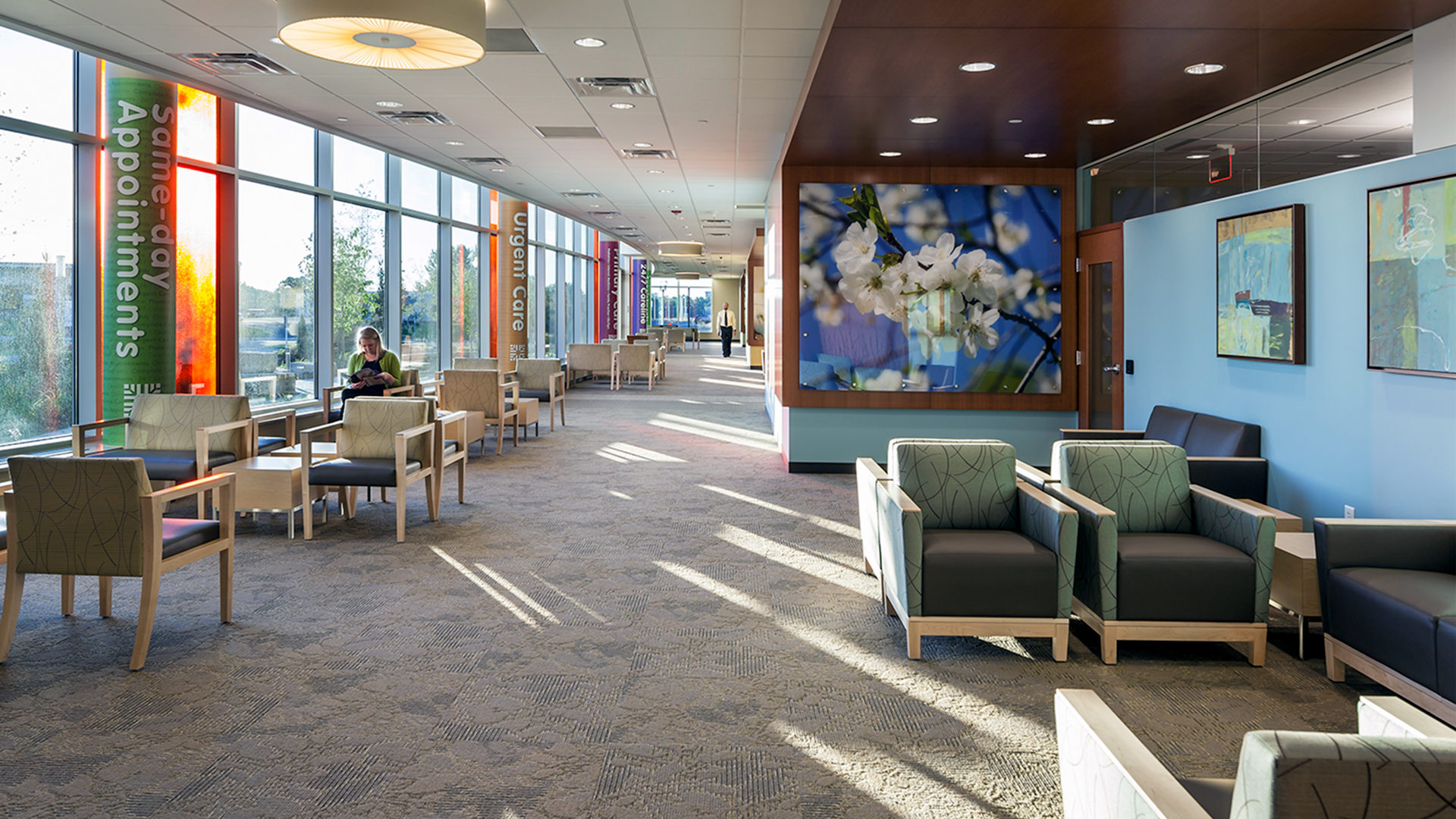 HealthPartners Riverway Clinic Anoka Interior Corridor With Cluster Seating Areas