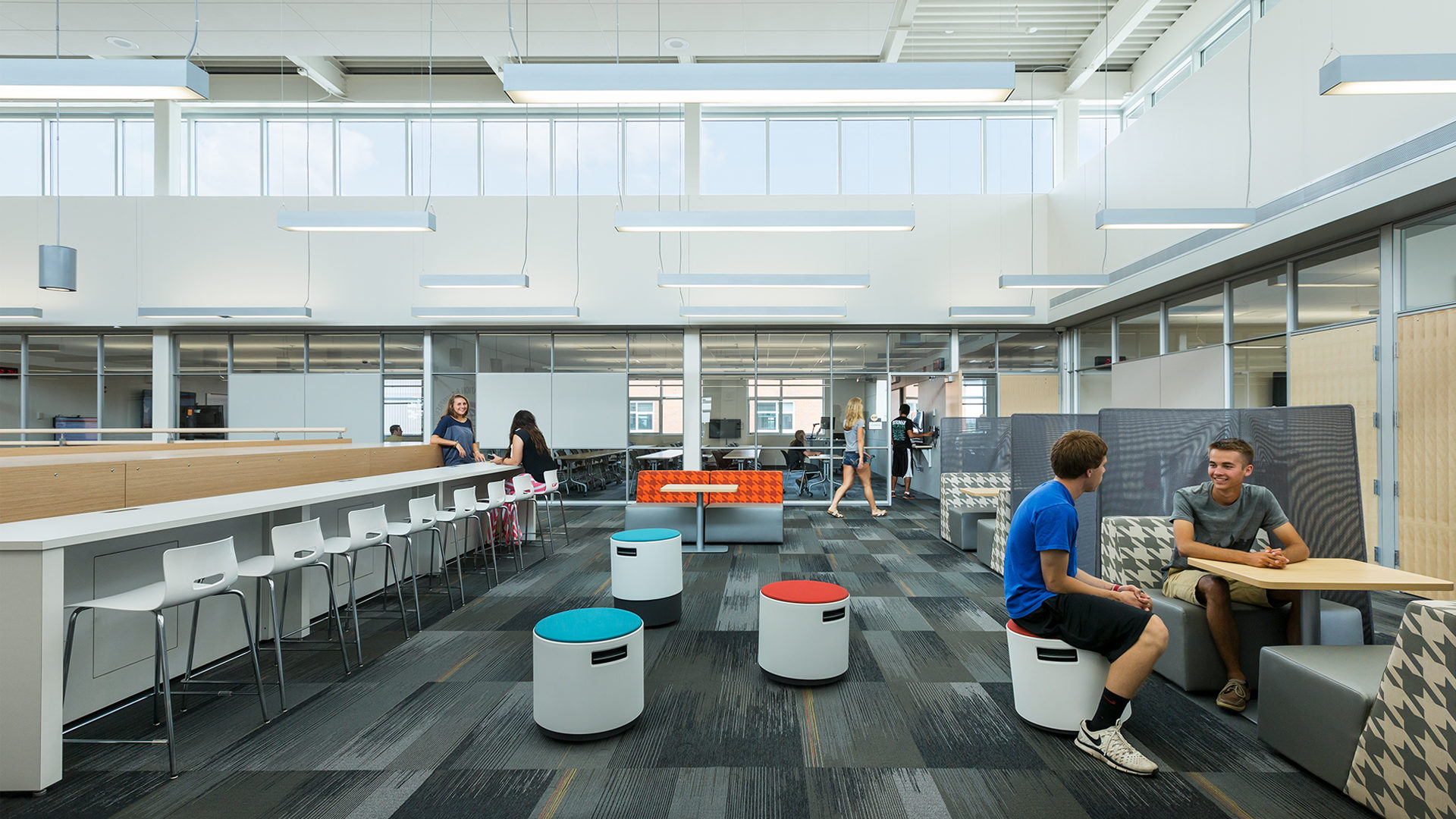 Alexandria High School Interior Common Study Area with Booths and Tables
