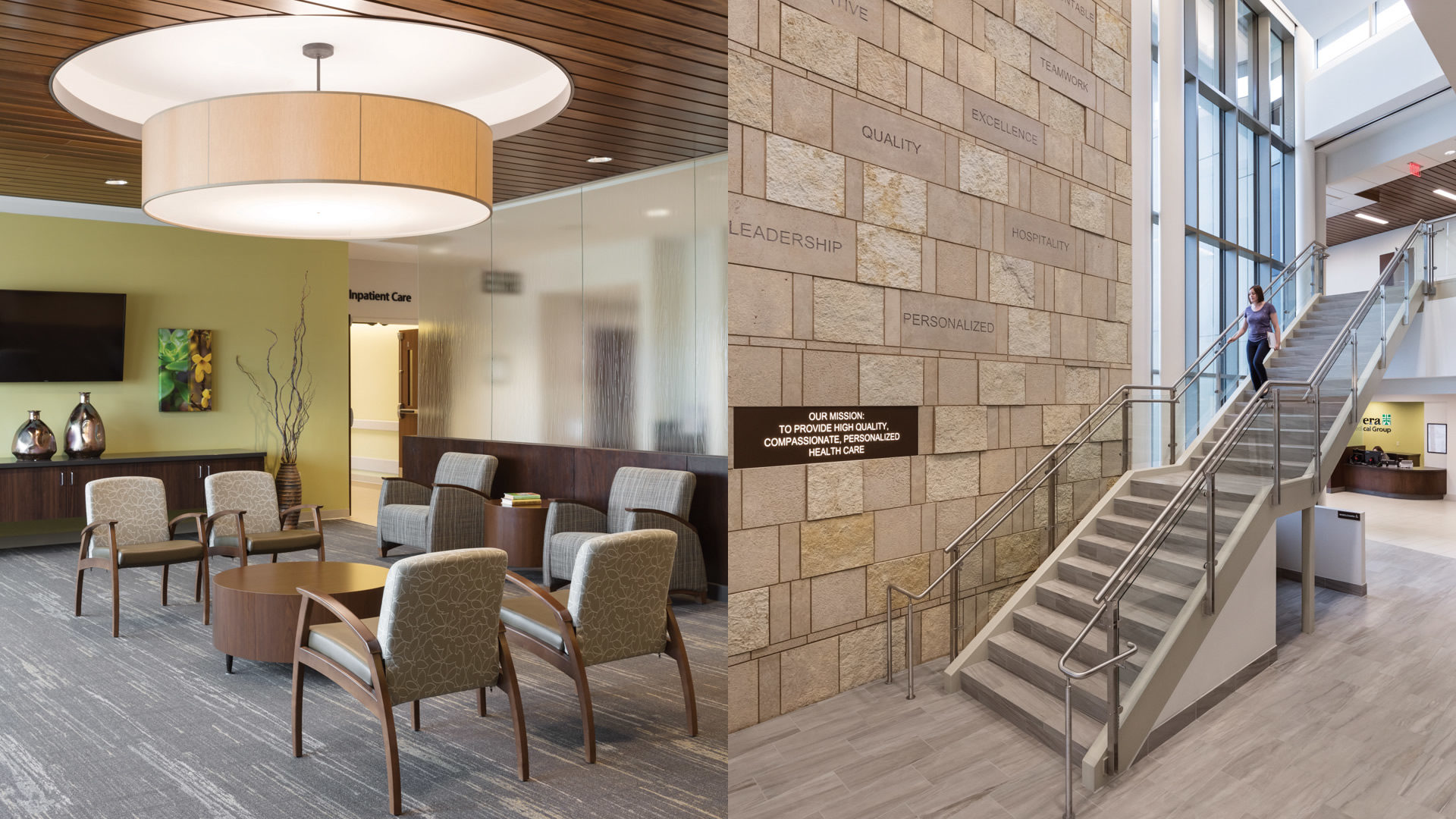 Brookings Hospital Addition and Renovation Interior Inpatient Care Waiting Room and Grand Staircase Engraved Brick Wall