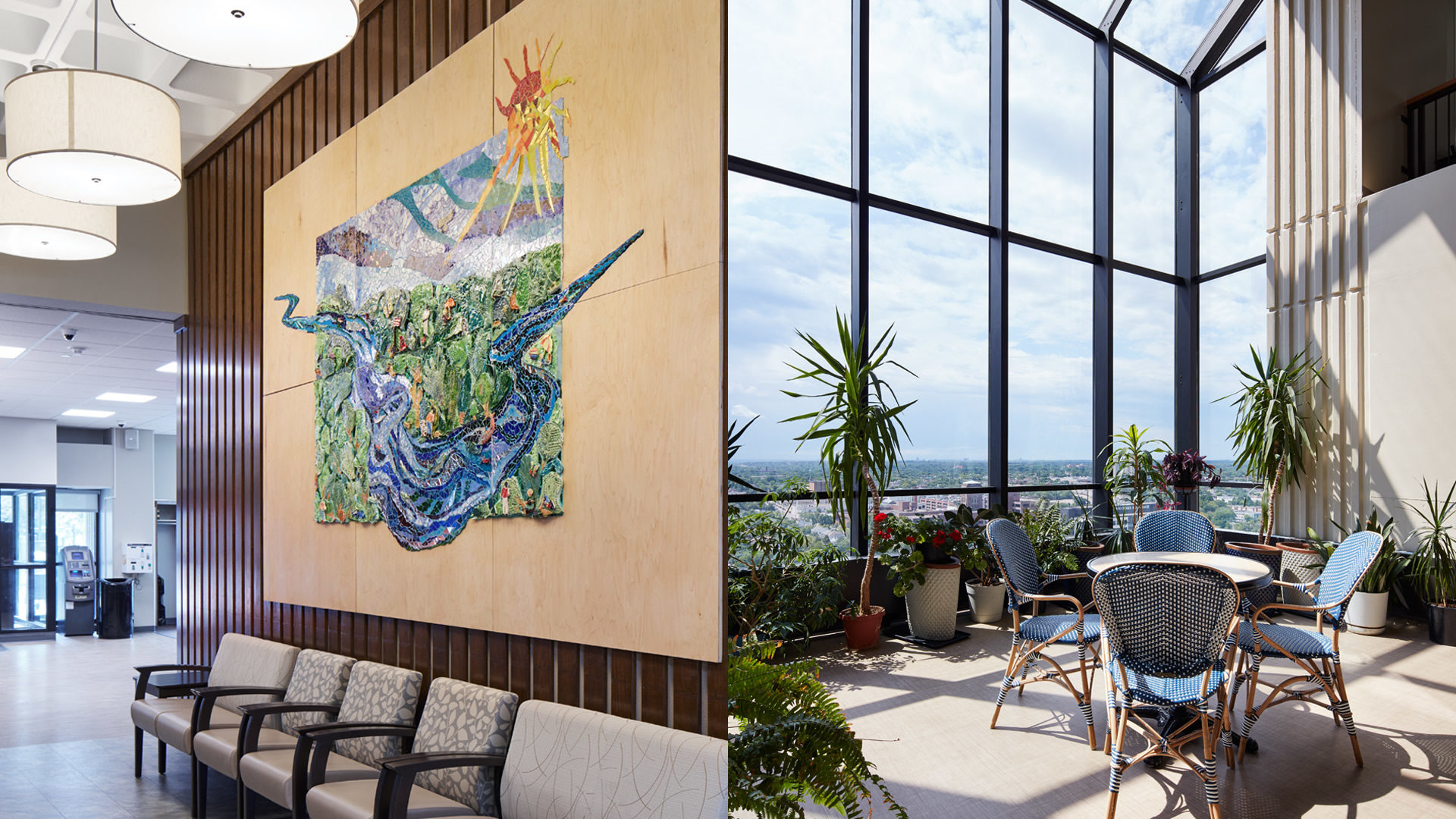 Ebenezer Tower Apartments Interior Green House SItting Area with Floor to Ceiling Windows and Interior Lobby Seating Area