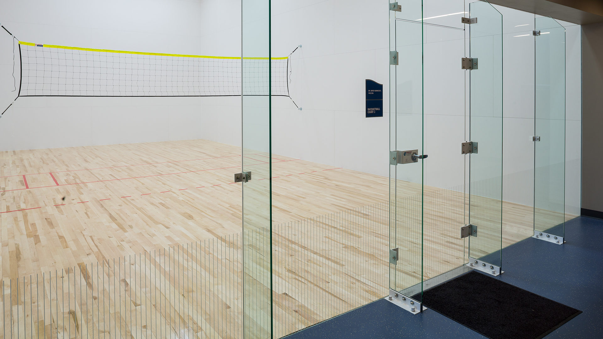 Maslowski Wellness and Research Center Wadena MN Interior Racketball Court with Glass Door and Front Wall