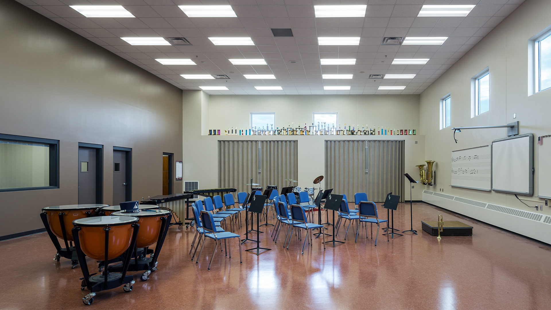 United South Central Schools Wells MN Education Vaulted Ceiling Band Room