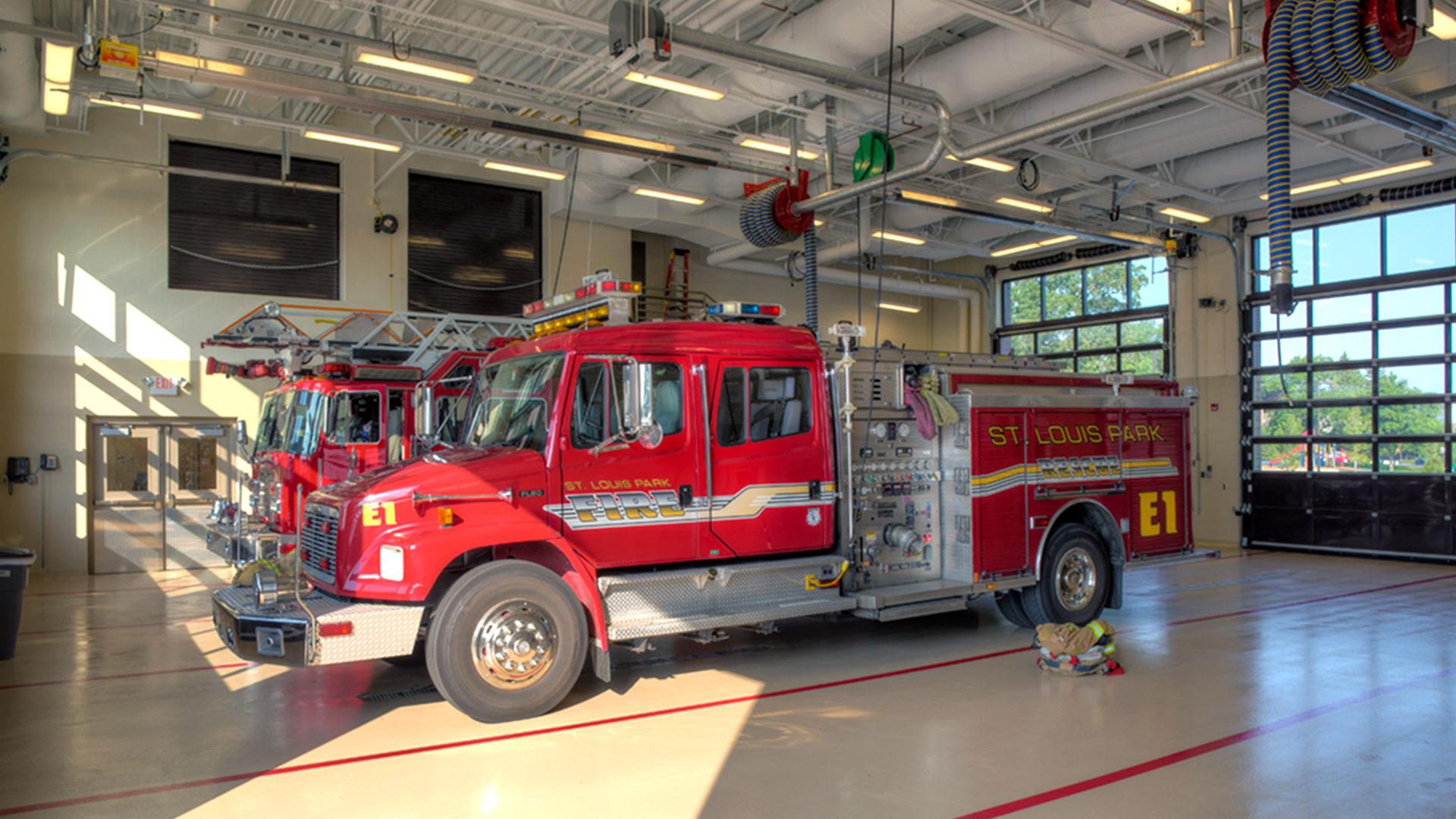 St Louis Park Fire Station 1 St Louis Park MN Fire Trucks Parked in Garage