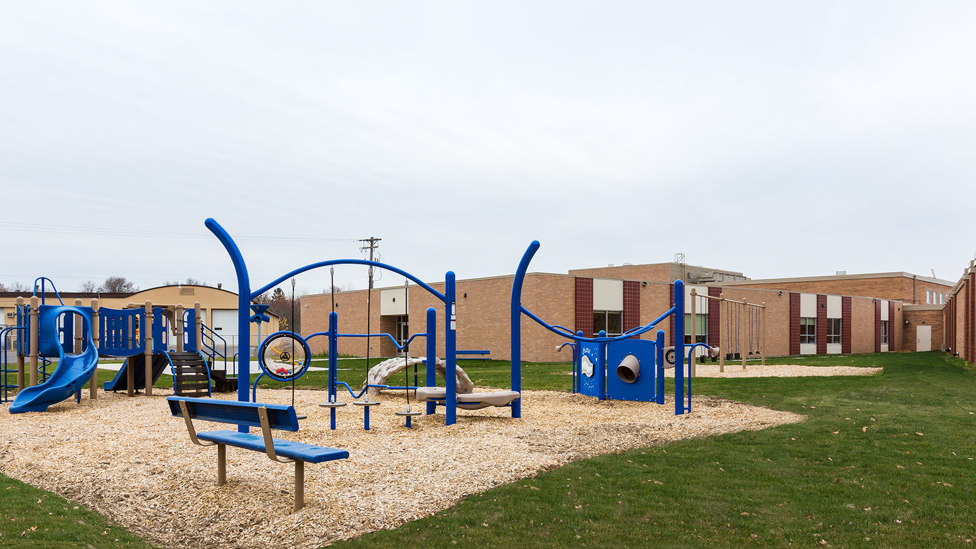 Clear Lake Elementary School Exterior View of the Play Ground Showing the Back of the Building
