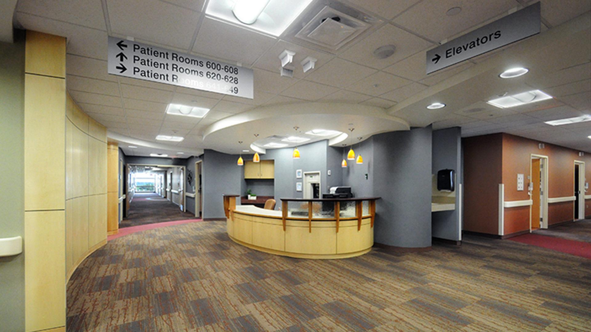 Fairview Ridges Hospital Addition and Renovations Burnsville Sixth Floor Nurses station and Corridor