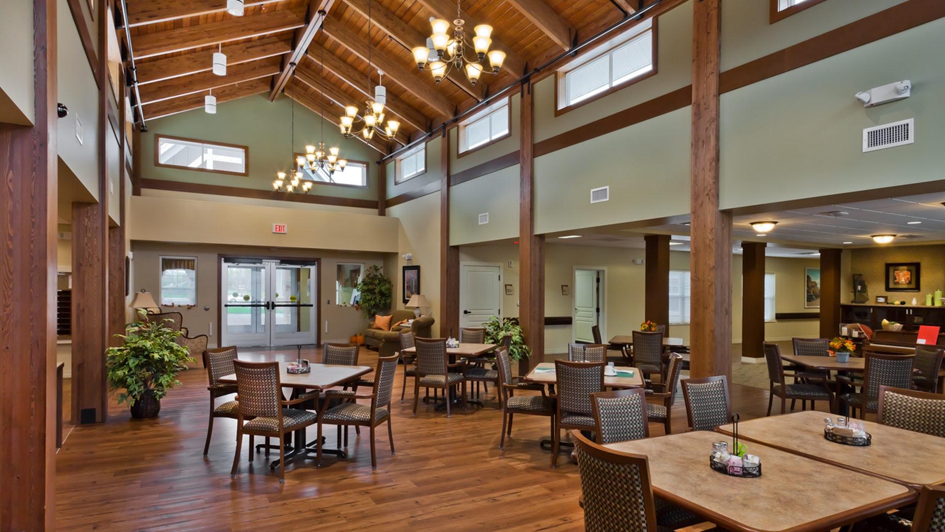 Good Samaritan Society International Falls Interior Dining Room with Vaulted Beamed Ceiling