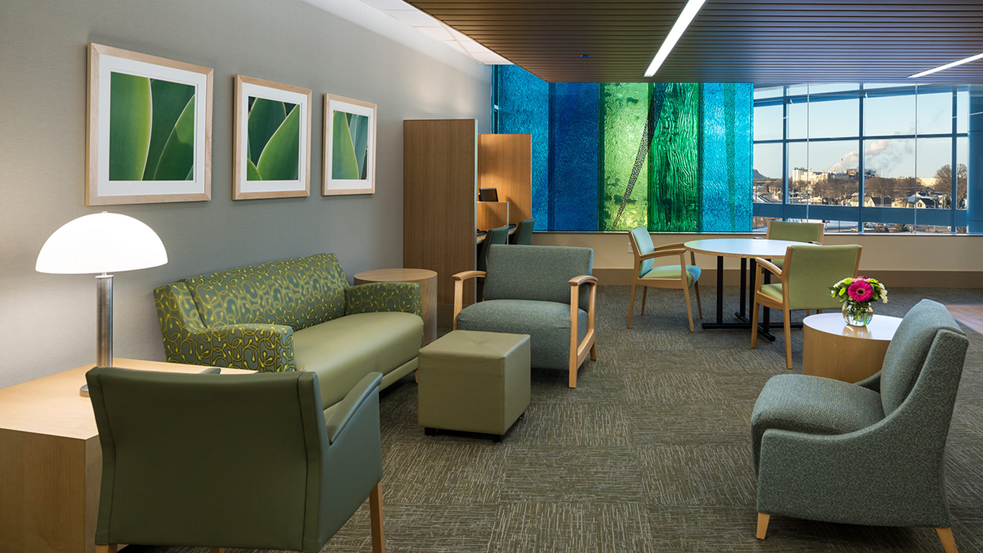 Gundersen Healthcare System Hospital Interior Second Floor Waiting Area Featuring Stained Glass Feature