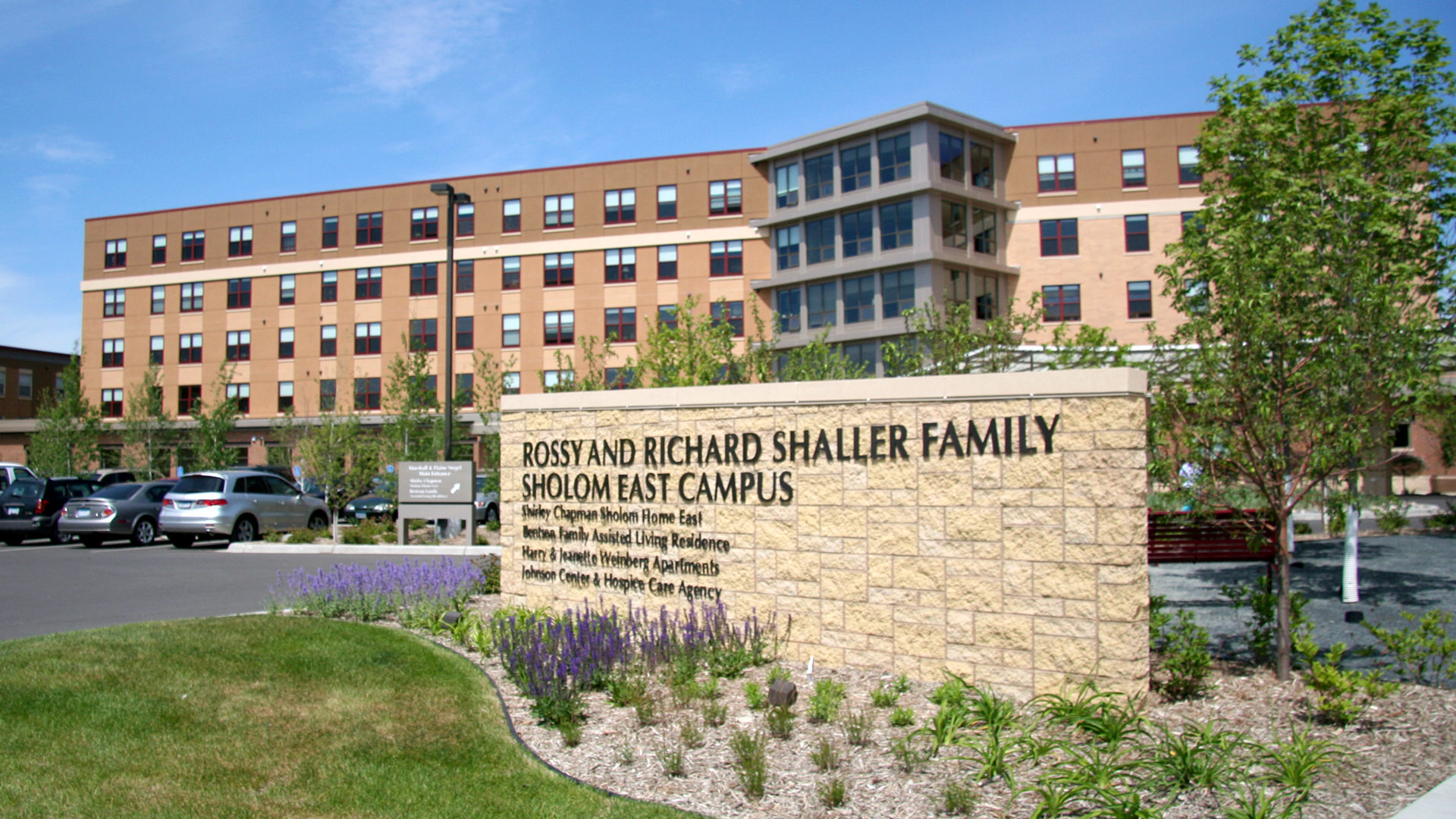 Shaller Sholom East Bentson-Chapman Senior Living Campus St Paul MN Exterior View with Sign