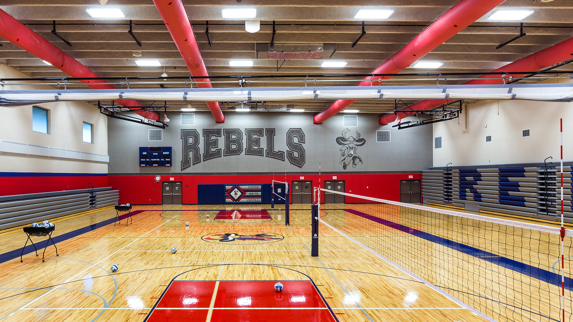 United South Central Schools Wells MN Education Red White Blue Gymnasium