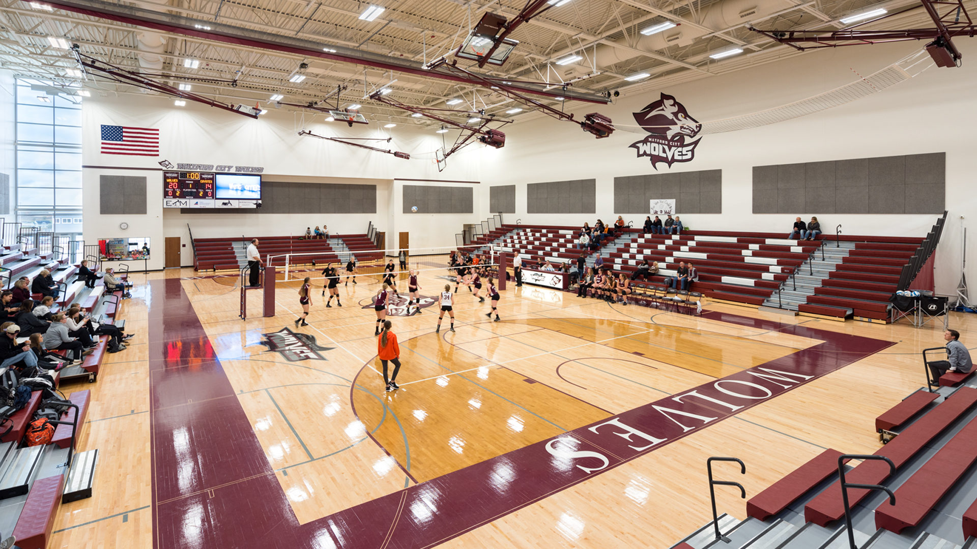 Watford City High School Watford City ND Gymnasium Girls Playing Volleyball