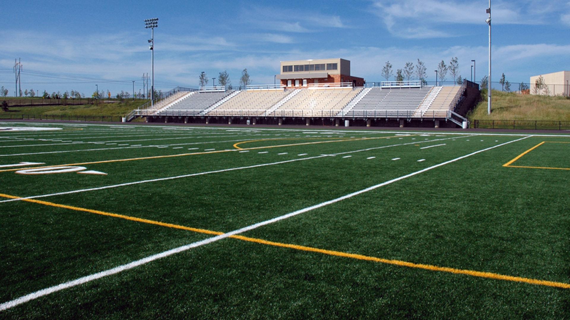 East Ridge High School Football Field Shot from Field to Bleachers