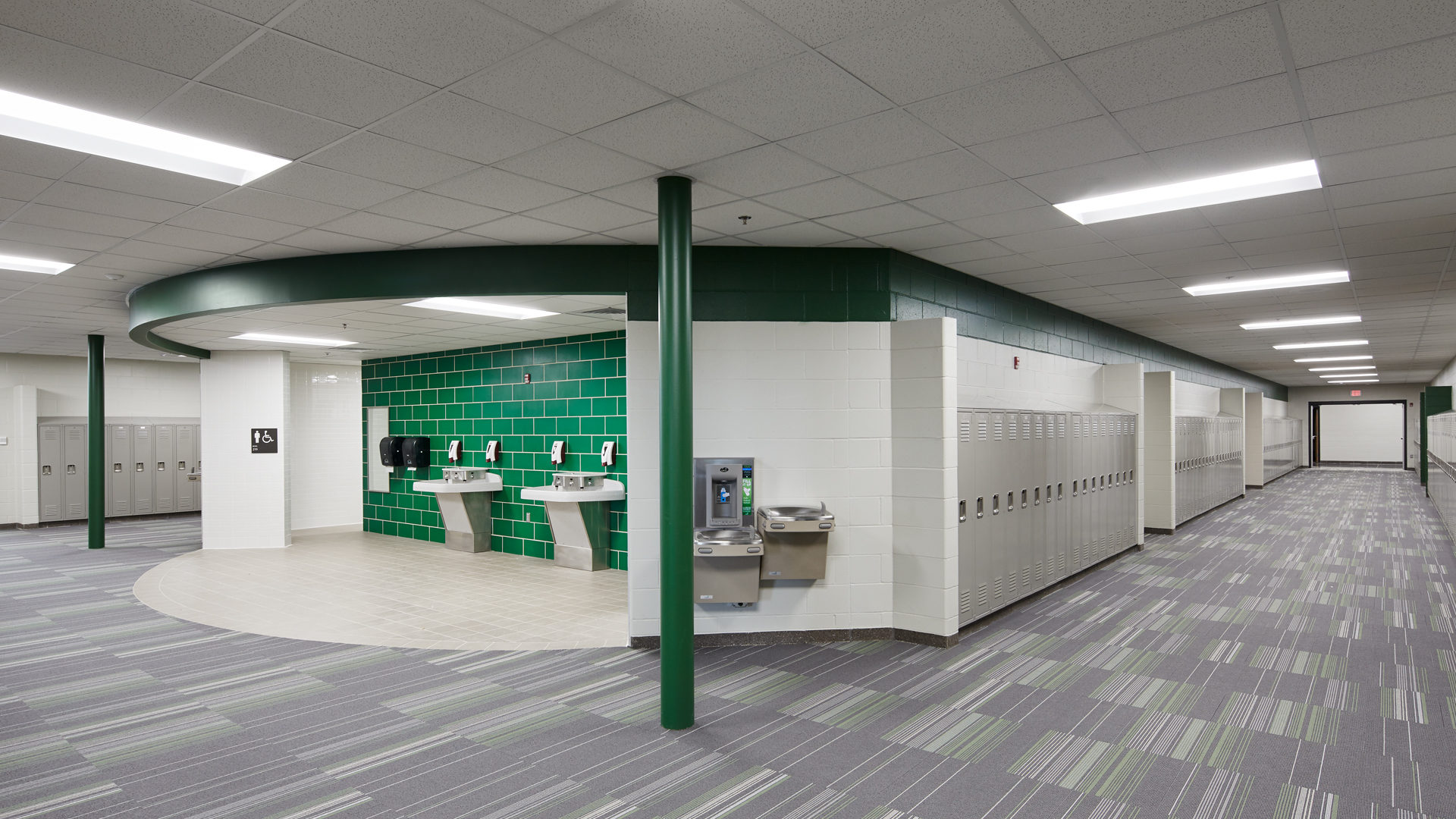 Pine Island Elementary School Pine Island MN View of Bathroom Wash Station and Hallways