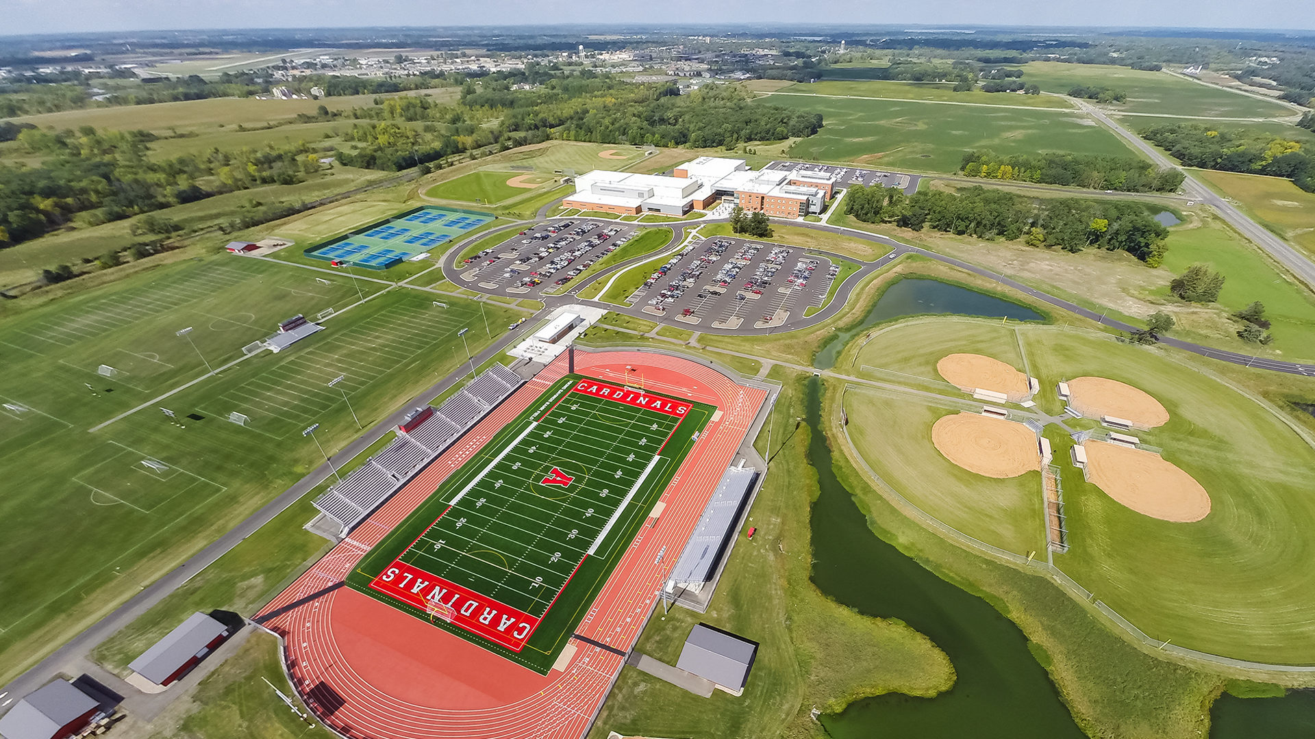 Alexandria High School Exterior Aerial View of HS and Sports Fields