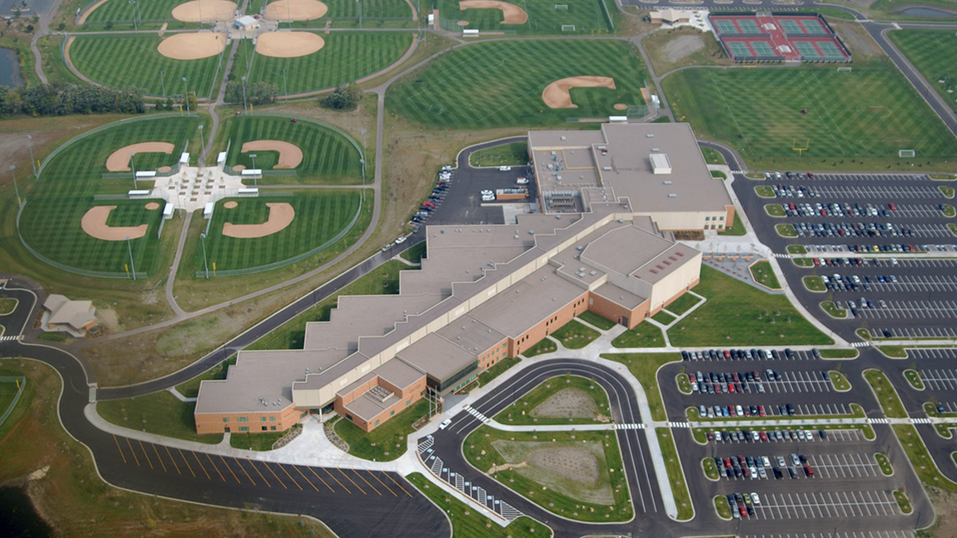 East Ridge High School Campus Aerial View of Building and Sports Fields